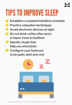 List of tips for better sleep.