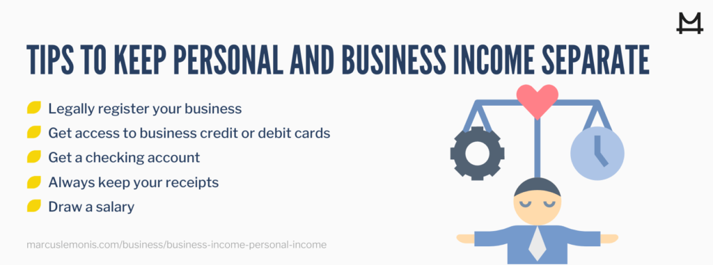 List of tips to help you keep personal and business income separate.