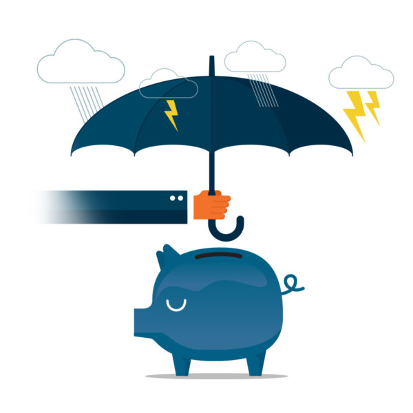 Holding umbrella over a piggy bank to save the money for a rainy day