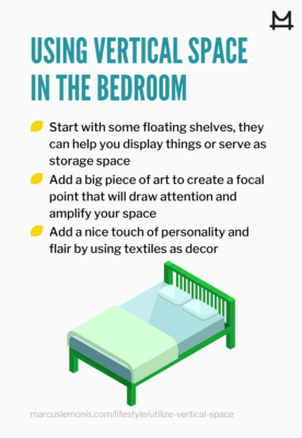 List of ways you can utilize the vertical space in your bedroom