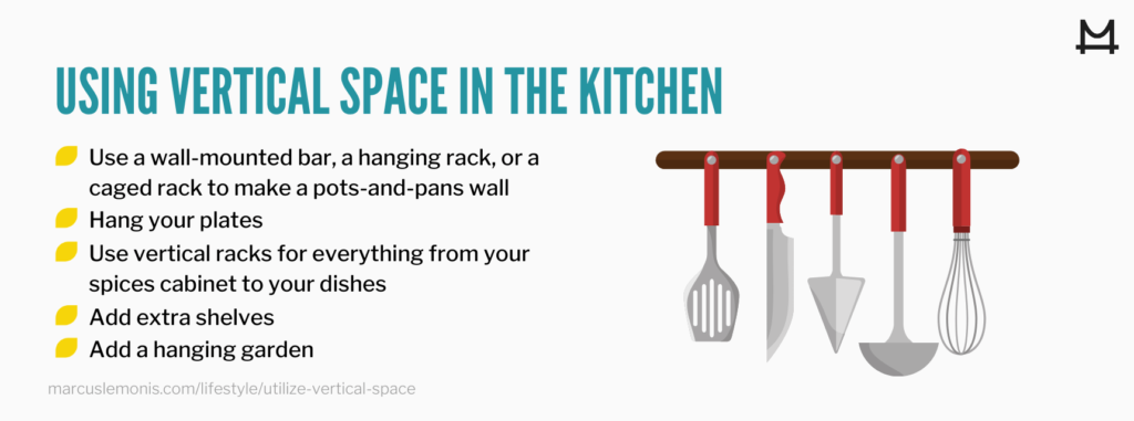 List of ways you can utilize the vertical space in your kitchen