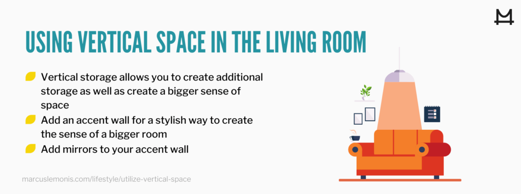 List of ways you can utilize the vertical space in your living room