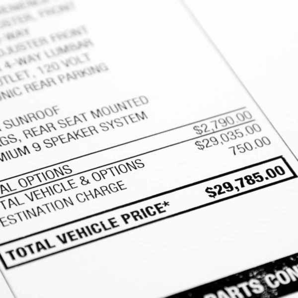 Image of a document that has the total vehicle price listed on it.