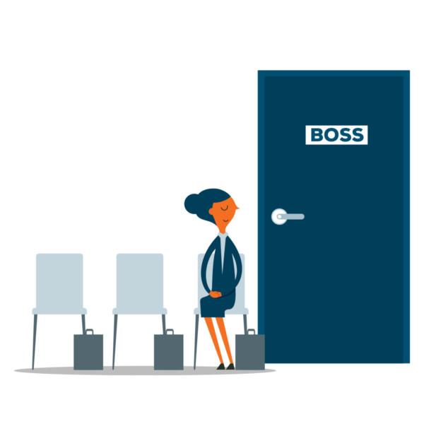 women waiting to speak with her boss