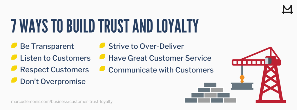 List of ways to build trust and loyalty.