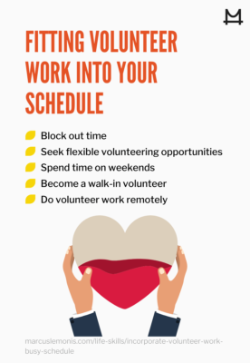List of different ways you can fit volunteering in your schedule