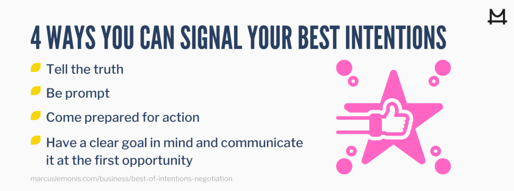 List of four ways to signal your best intentions