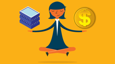 Woman balancing business and money