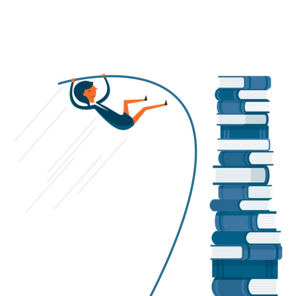 Woman catapulting over a stack of books that are an obstacle for her