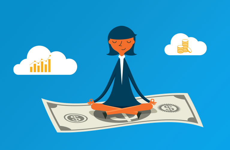 Woman meditating and floating on money in the clouds