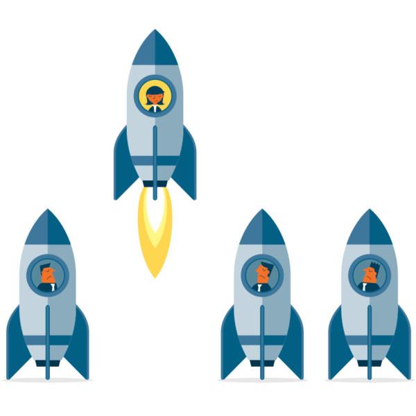 Image of leader taking flight in rocketship.