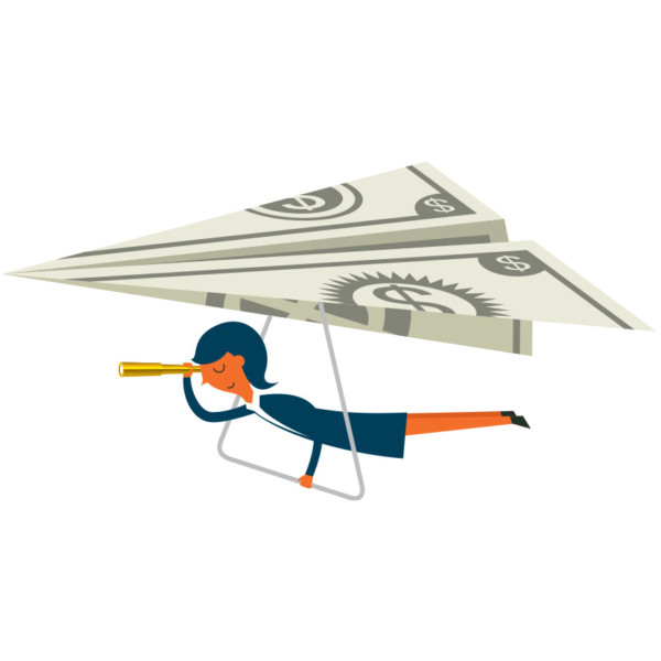 Image of woman flying on paper plane.