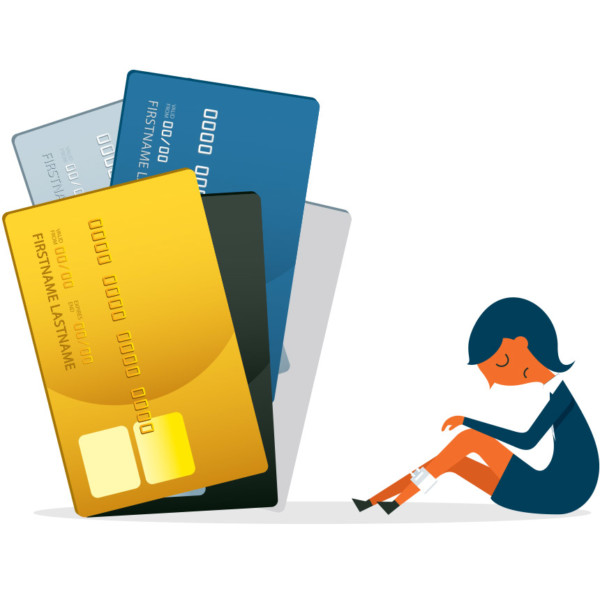 Woman with a lot of credit cards building up debt