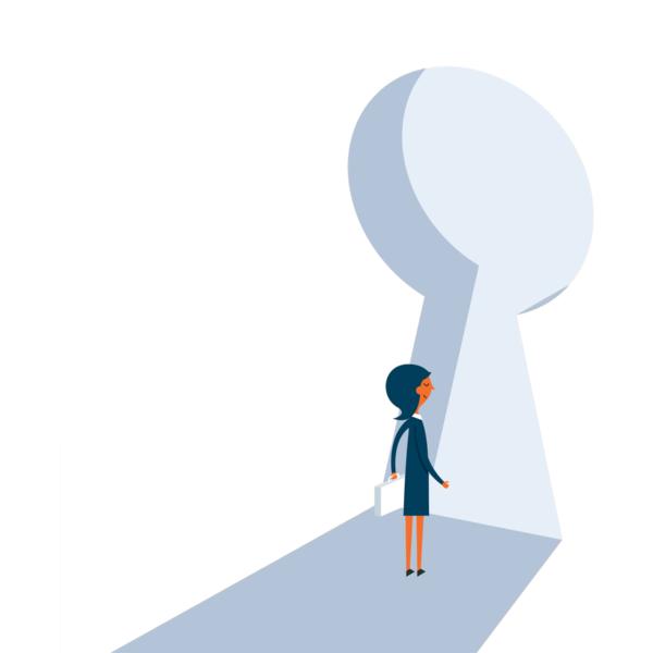 women walking through a keyhole