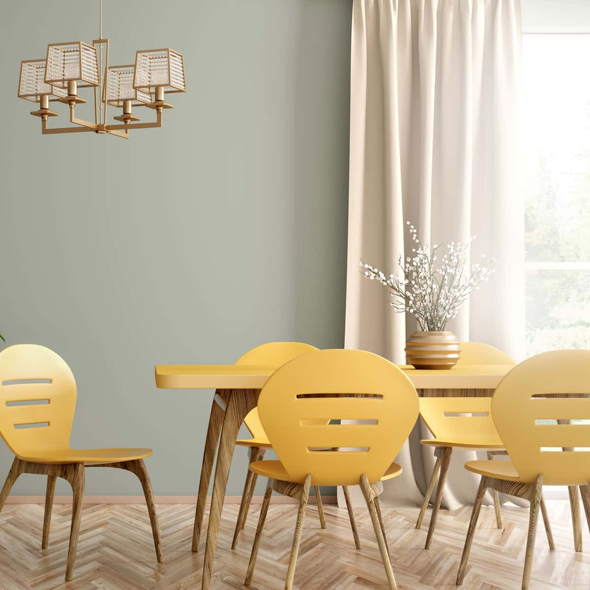 Yellow 50s style dining table and chairs in vintage style home