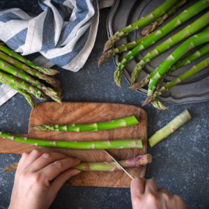 Image of asparagus being cut
