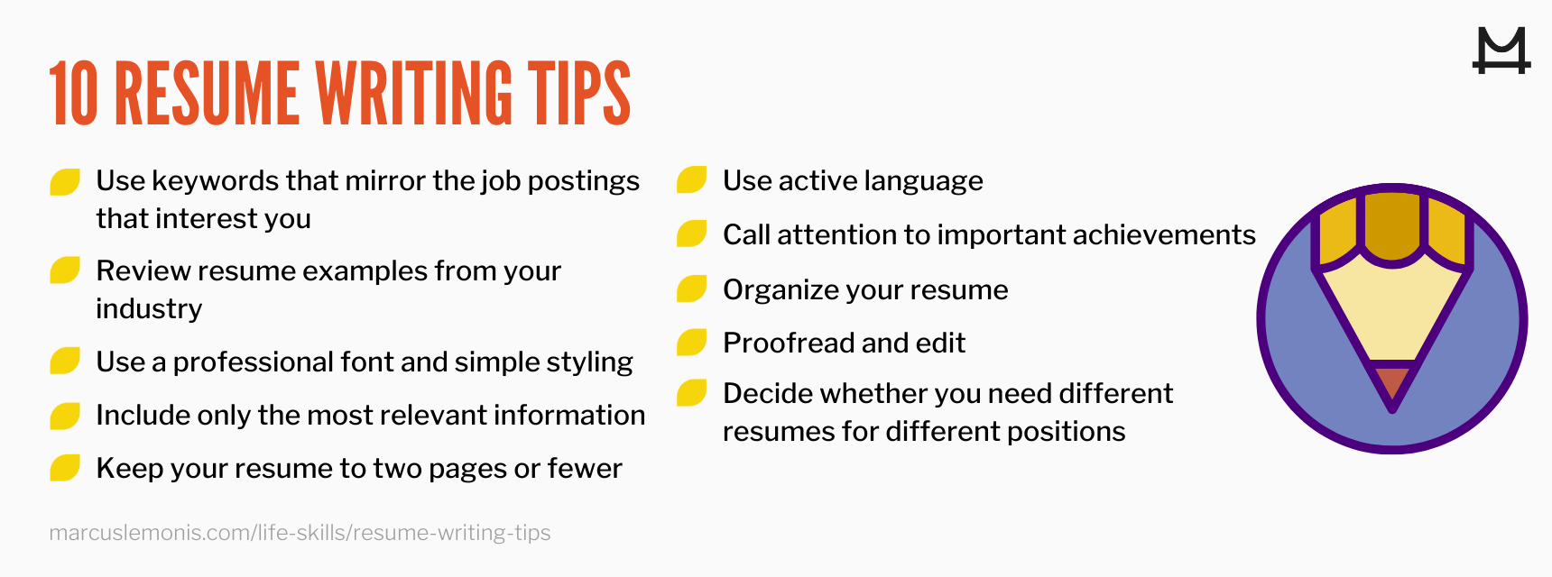 List of 10 resume writing tips