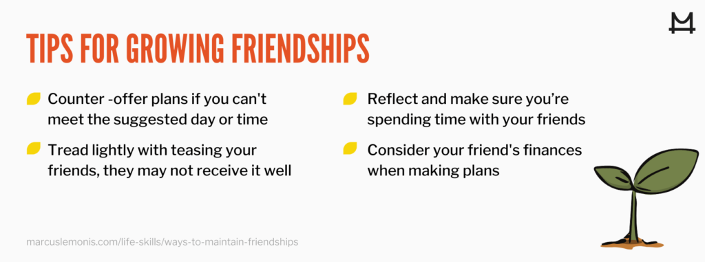 List of 4 tips for growing friendships