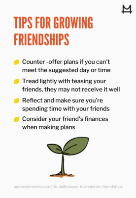 List of four tips for growing a friendship.