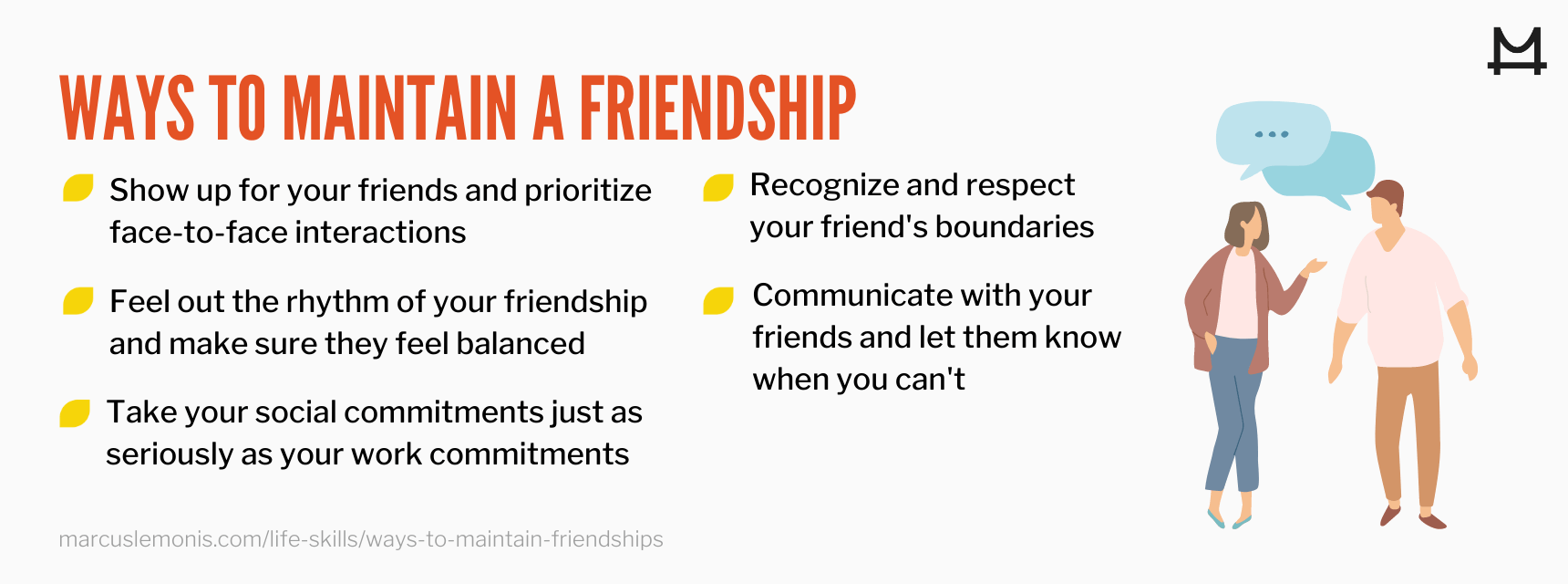 List of 5 ways you can maintain a friendship