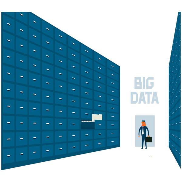 man in a big storage room representing big data