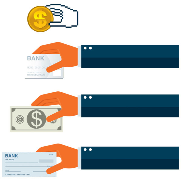 graphic of customers handing in payments