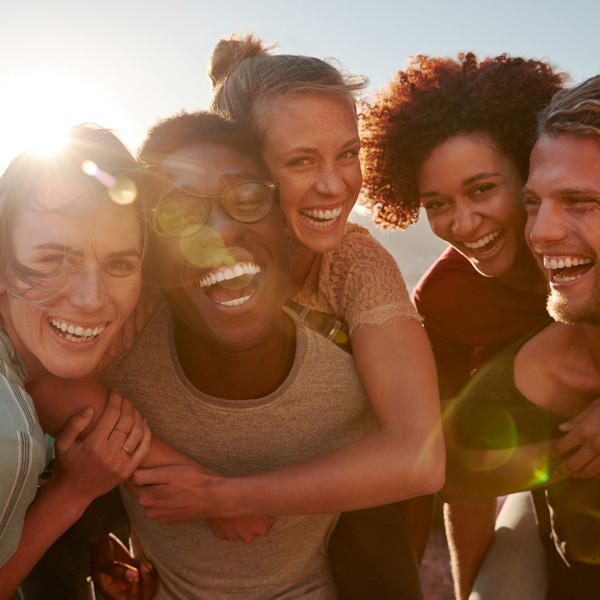 Group of friends smiling and laughing