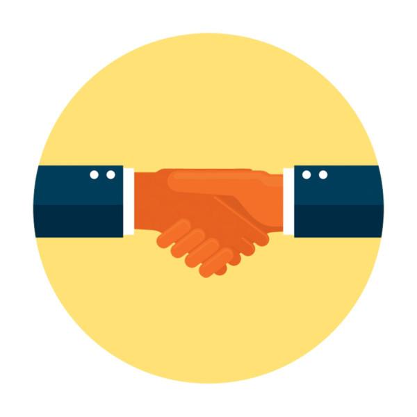 handshake on a yellow backdrop