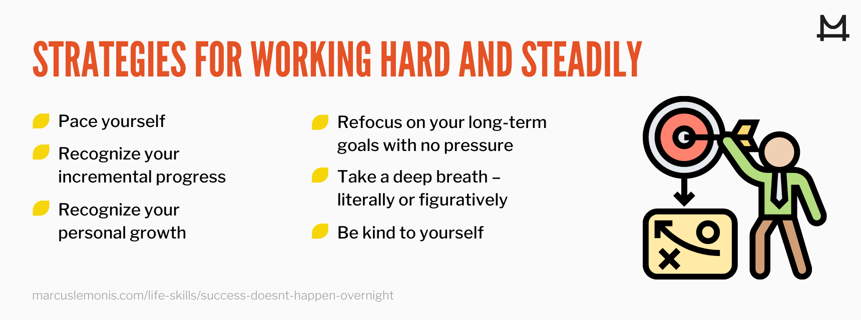 graphic outlining strategies for hard and steady work for success