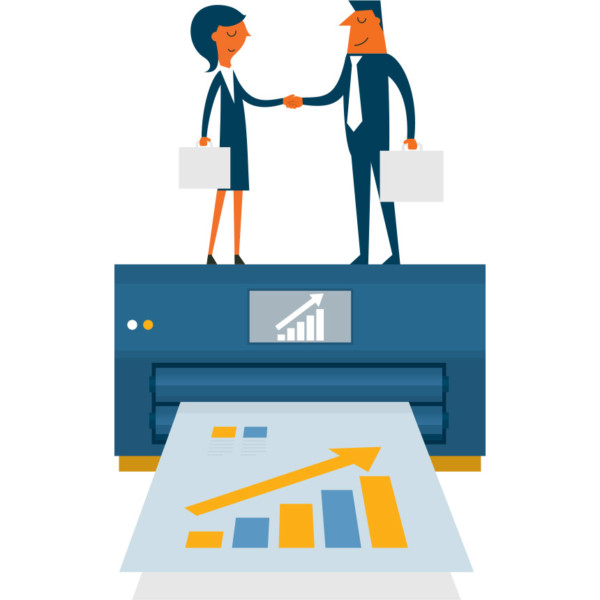 Image of two people shaking hands on a large printer.