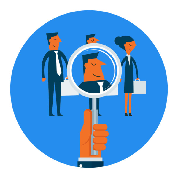 Hiring manager looking at candidates through magnifying glass to find the right person