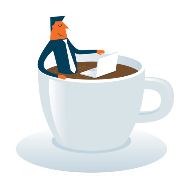 graphic of man relaxing in coffee with computer