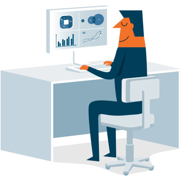 Man sitting at desk looking at charts from his POS system