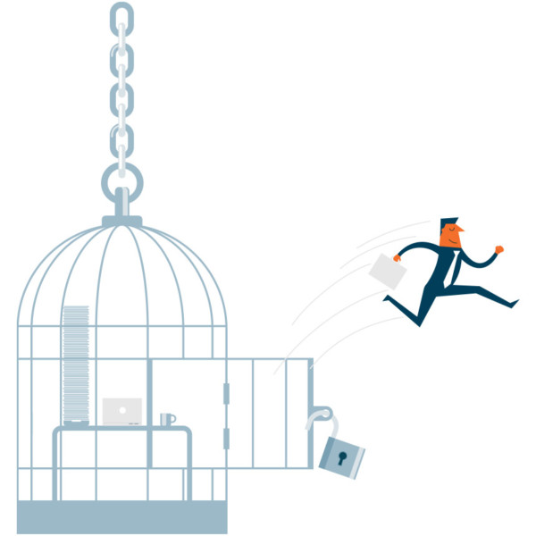 Image of someone jumping out of a cage.