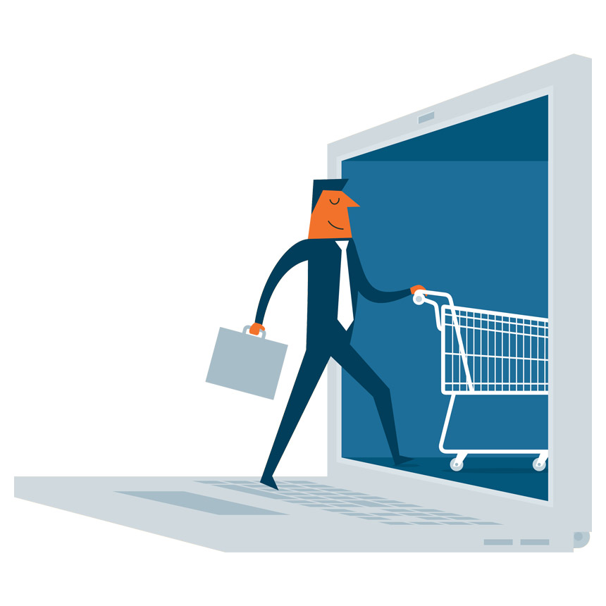 online shopping by pushing a cart through a laptop