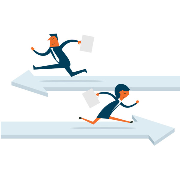 Image of two people running on arrows going in opposite directions.