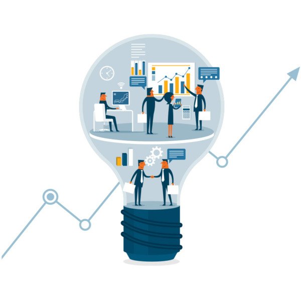 People working together in lightbulb