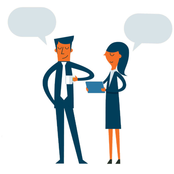 two people having a positive conversation and user experience