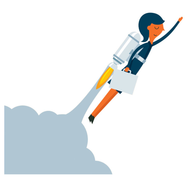 women with a jetpack having a positive customer experience
