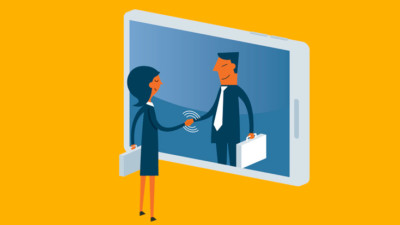 two people shaking hands through a phone representing positive user experience online