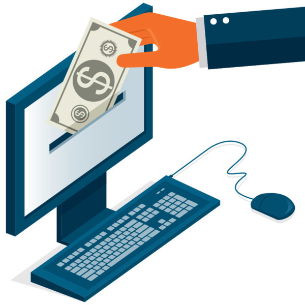 Putting money into computer to make purchase