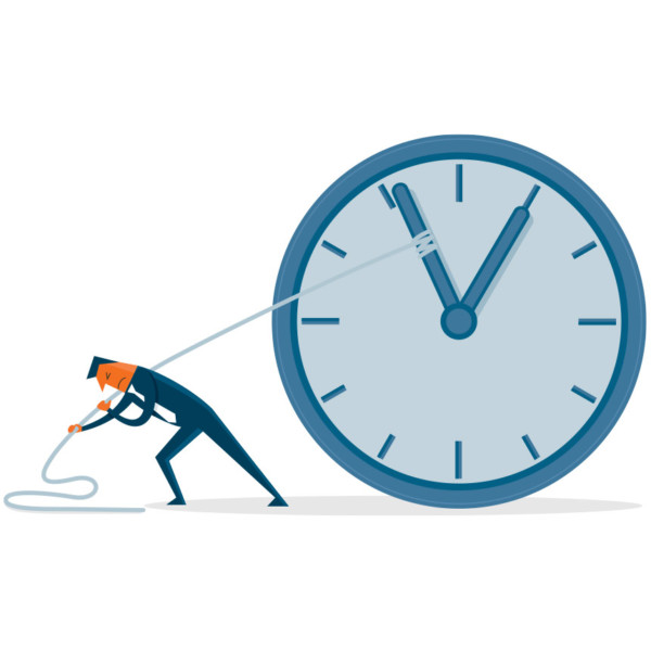 Image of someone pulling a clock with a rope.