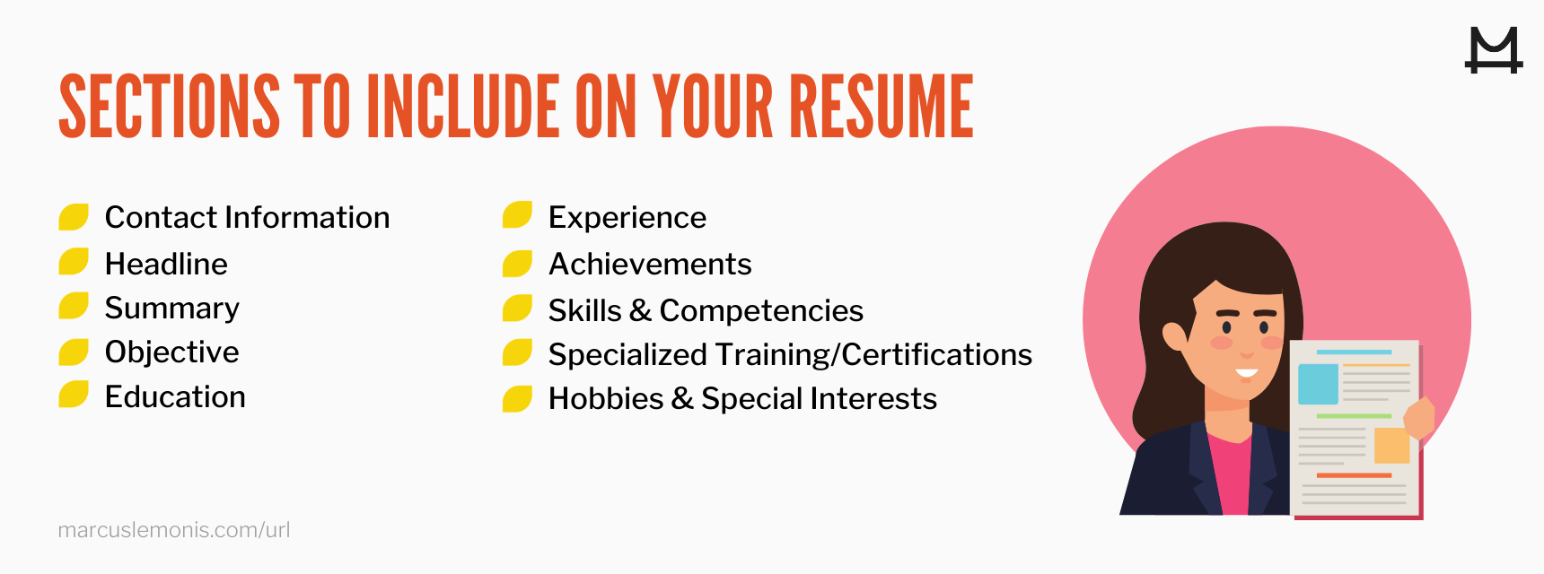 List of sections you should include on your resume