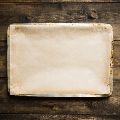 Image of sheet pan with parchment paper on it