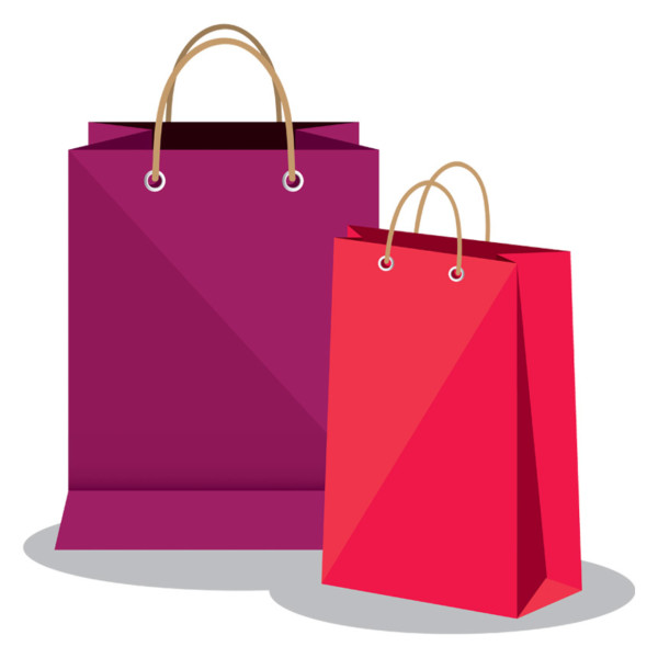 two pink shopping bags on a white background