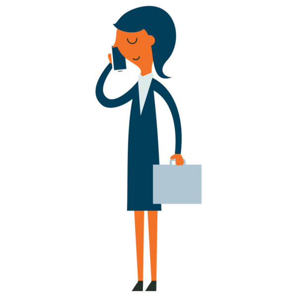 graphic of woman on phone