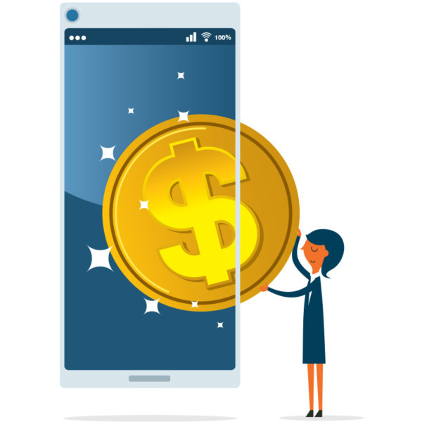 Woman pulling a giant coin from a cell phone