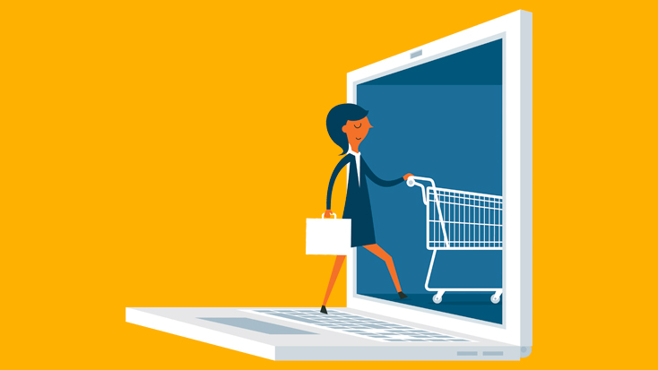 image of woman going shopping on computer