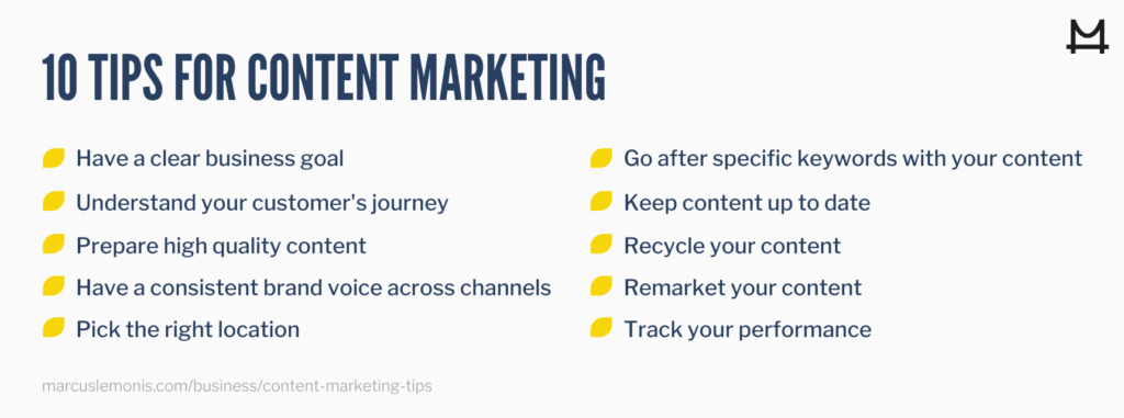 10 great content marketing tips and tricks