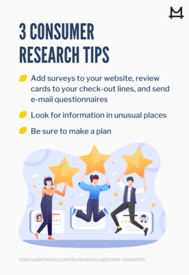 List of three consumer research tips